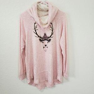 No Boundaries | Pink Deer Sweatshirt Size XXL